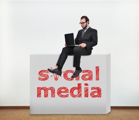 businessman with social media